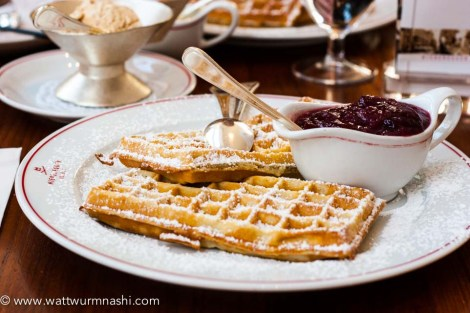Marzipan waffles, plum take