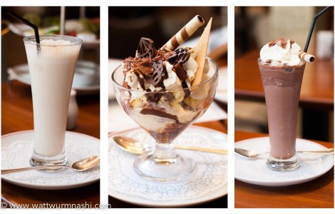 Niederegger almond milk, sundae, iced chocolate