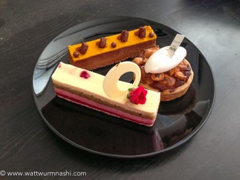apricot & baked cheese tart [right], Framblanc [front], Totoropi [back]