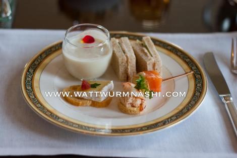Camembert crostini, shrimp + crab toasty, potato-salmon canapé, asparagus soup, tuna-cucumber sandwiches